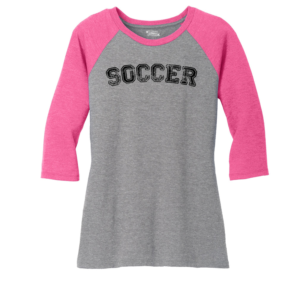 Soccer Sports Goalie Shirt Ladies Tri-Blend 3/4 Sleeve Raglan
