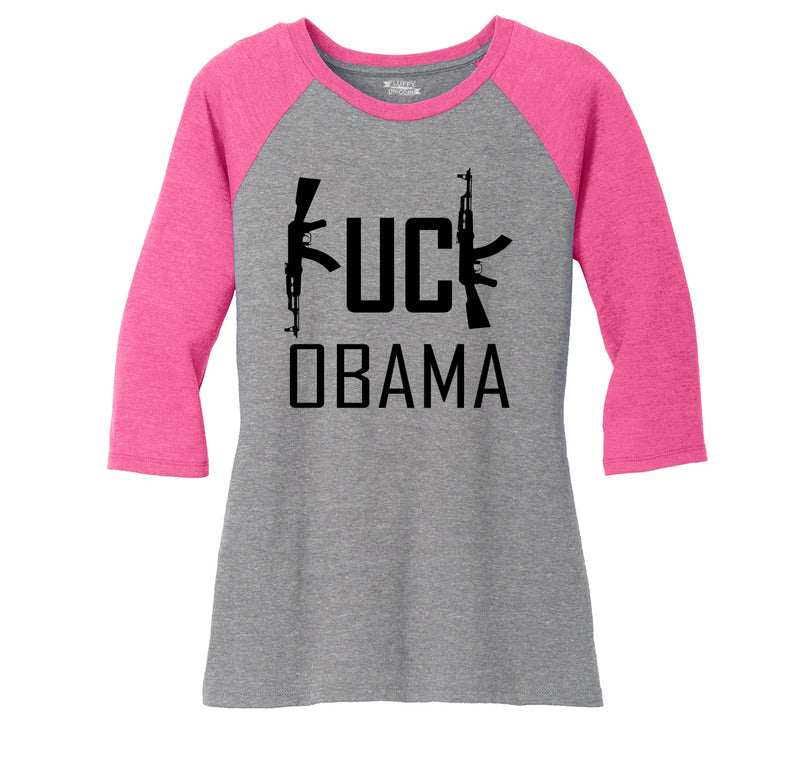 Fuck Obama Ladies Tri-Blend 3/4 Sleeve Raglan