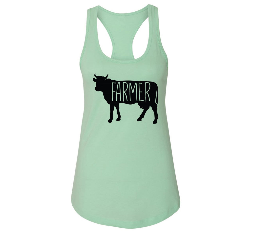 Farmer Cow Ladies Racerback Tank Top