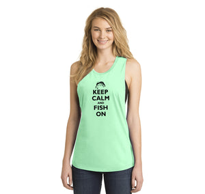 Keep Calm and Fish On Ladies Festival Tank Top