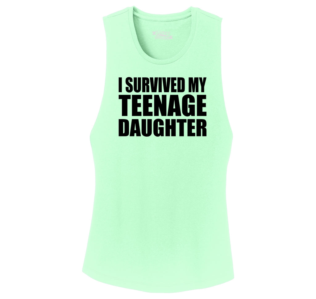 I Survived My Teenage Daughter Cute Mom & Dad Gift Funny Shirt Ladies Festival Tank Top