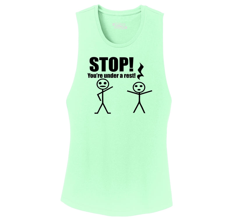 Stop You're Under A Rest Funny Music Piano Shirt Ladies Festival Tank Top