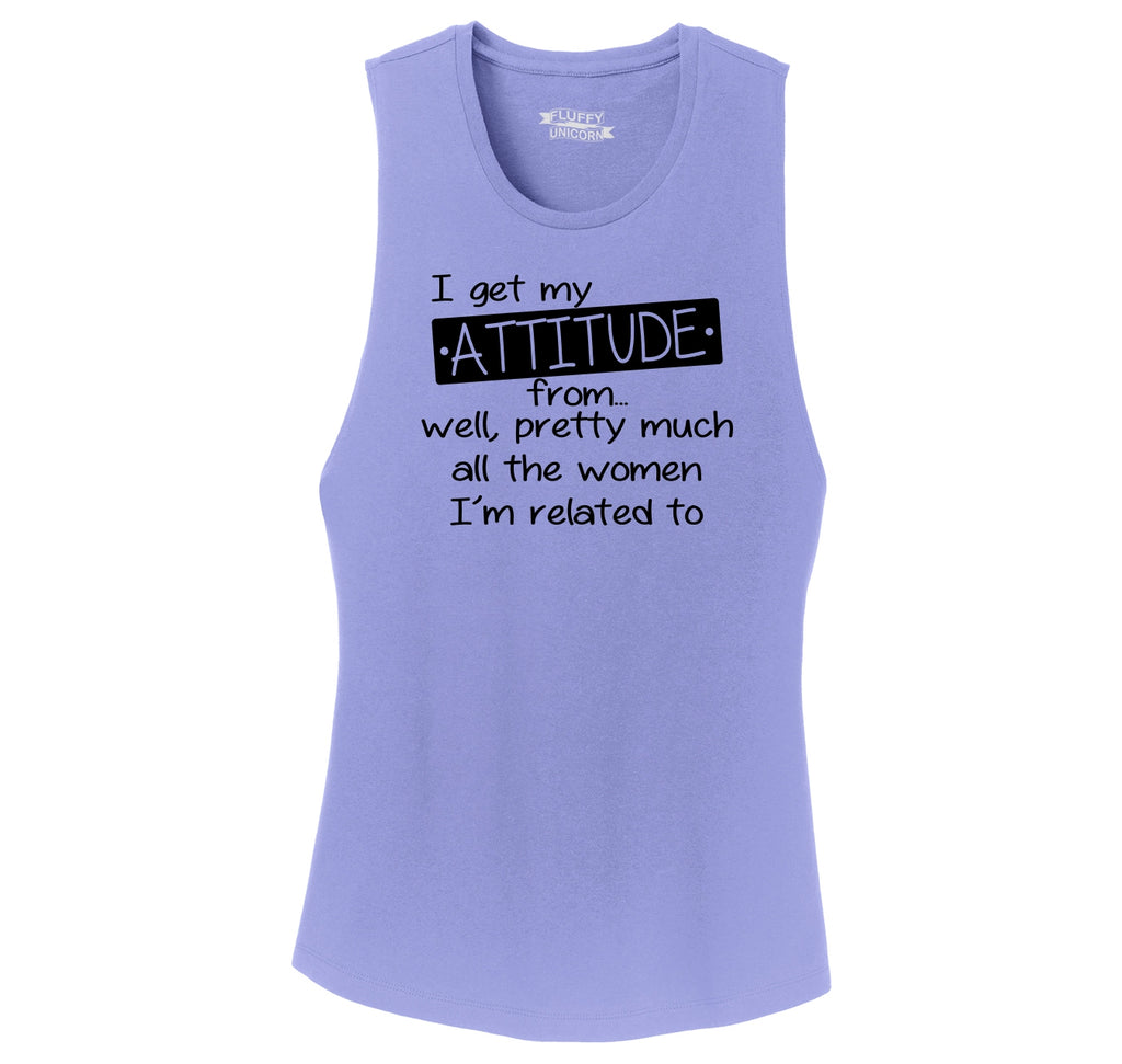 I Get My Attitude From The Women In My Life Ladies Festival Tank Top
