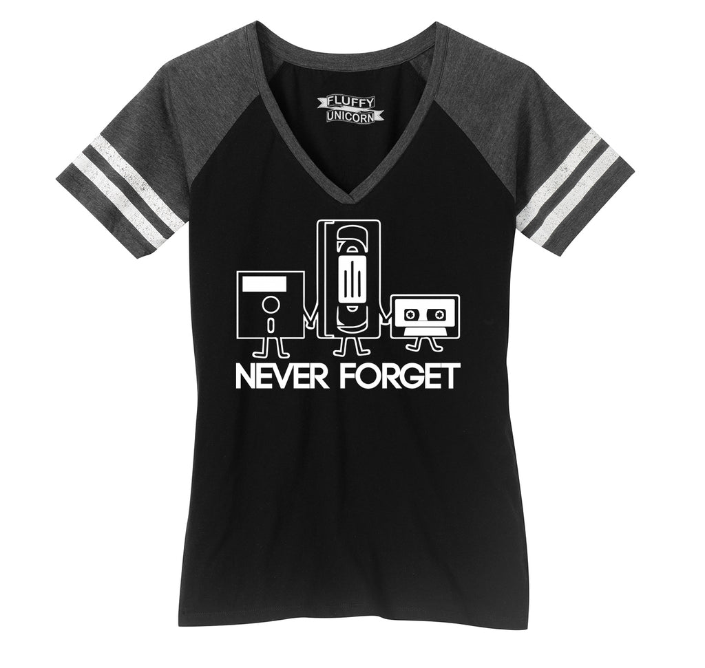 Never Forget Ladies Short Sleeve Game V-Neck Shirt