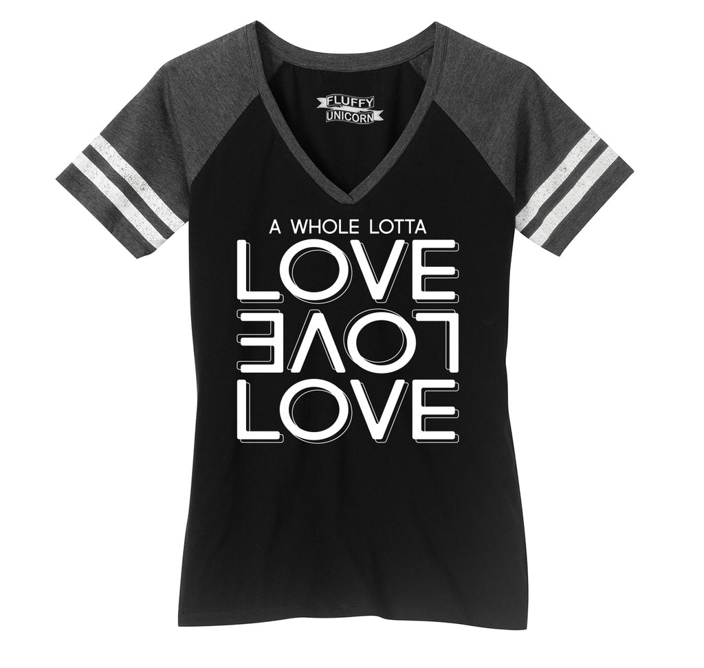 A Whole Lot Of Love Ladies Short Sleeve Game V-Neck Shirt
