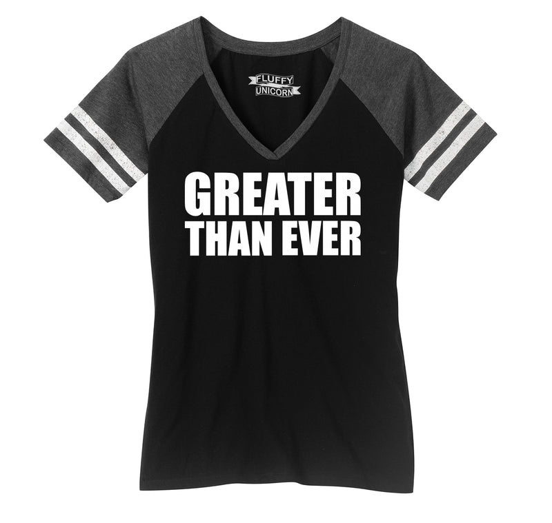 Greater Than Ever Tee Political Trump America Great Again Republican Tee Ladies Short Sleeve Game V-Neck Shirt