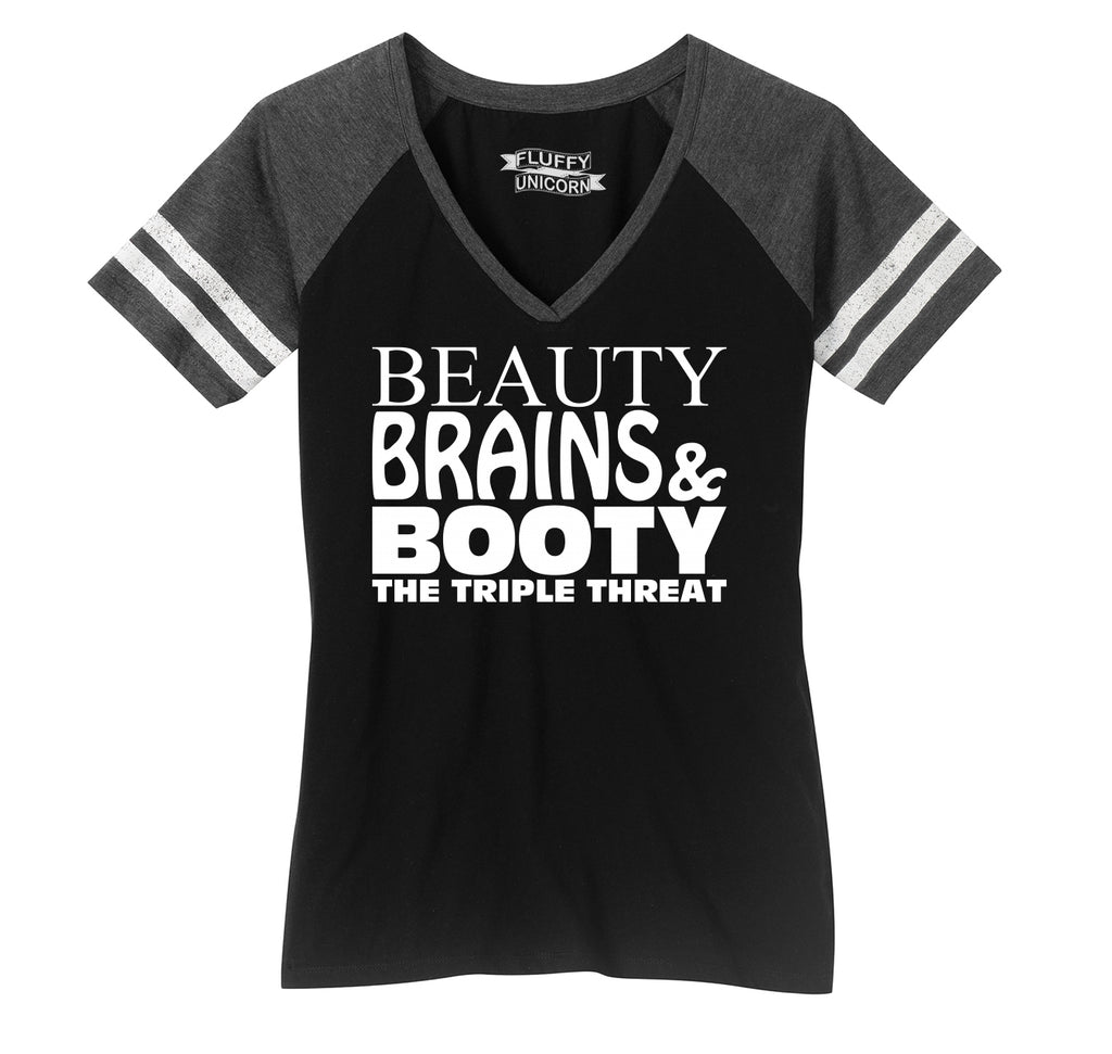 Beauty Brains Booty Ladies Short Sleeve Game V-Neck Shirt