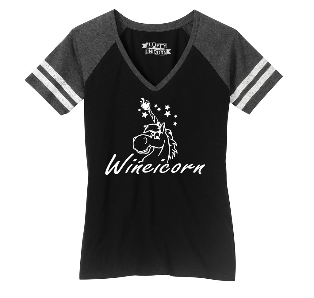Wineicorn Funny Unicorn Wine Party Shirt Ladies Short Sleeve Game V-Neck Shirt