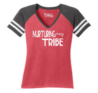 Nurturing My Tribe Ladies Short Sleeve Game V-Neck Shirt