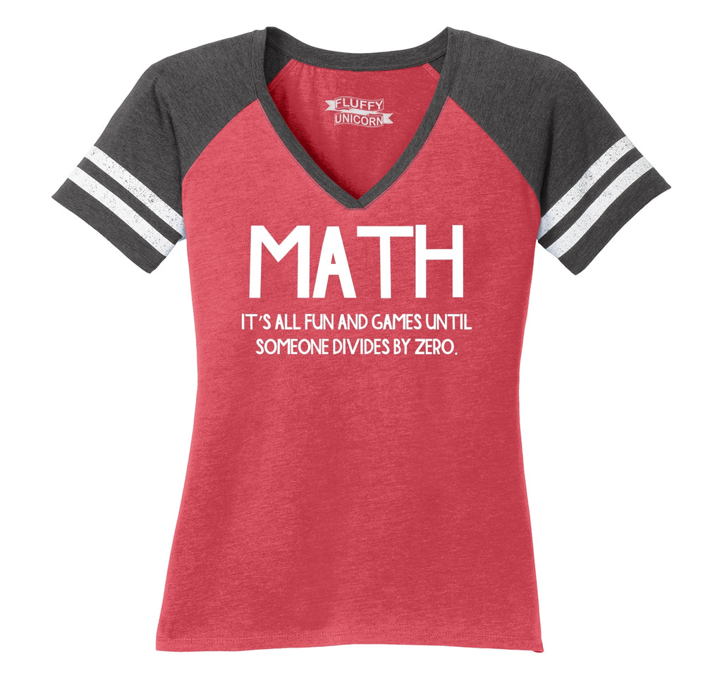 Math Fun Until Someone Divides By Zero Ladies Short Sleeve Game V-Neck Shirt