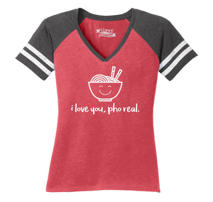I Love You Pho Real Funny Asian Chinese Food Graphic Tee Ladies Short Sleeve Game V-Neck Shirt