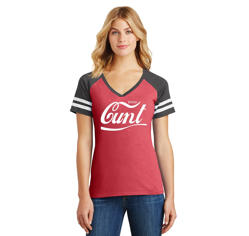 Enjoy Cunt Parody Ladies Short Sleeve Game V-Neck Shirt