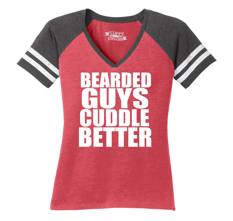 Bearded Guys Cuddle Better Ladies Short Sleeve Game V-Neck Shirt