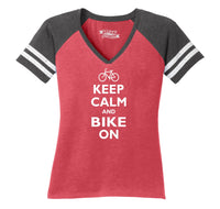 Keep Calm & Bike On Funny BicycleT Shirt Ladies Short Sleeve Game V-Neck Shirt