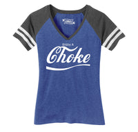 Enjoy A Choke Parody Ladies Short Sleeve Game V-Neck Shirt