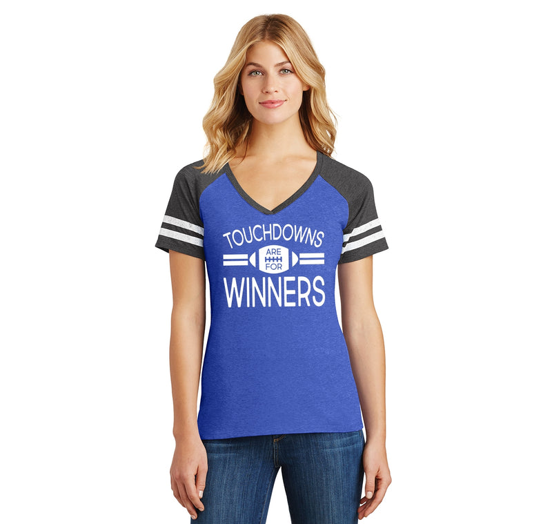 Touchdowns Are For Winners Football Sports Tee Ladies Short Sleeve Game V-Neck Shirt