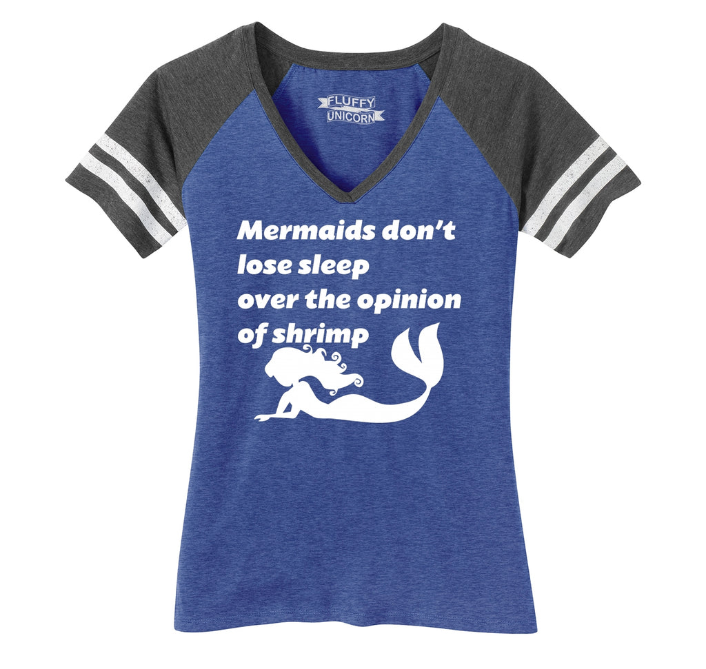 Mermaids Don't Lose Sleep Over The Opinion Of Shrimp Funny Tee Ladies Short Sleeve Game V-Neck Shirt