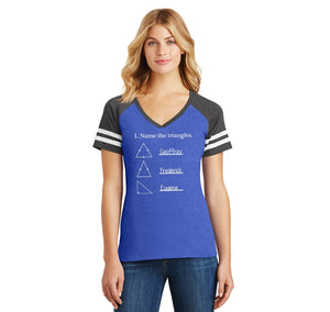 Name The Triangles Geoffrey Frederick Eugene Ladies Short Sleeve Game V-Neck Shirt