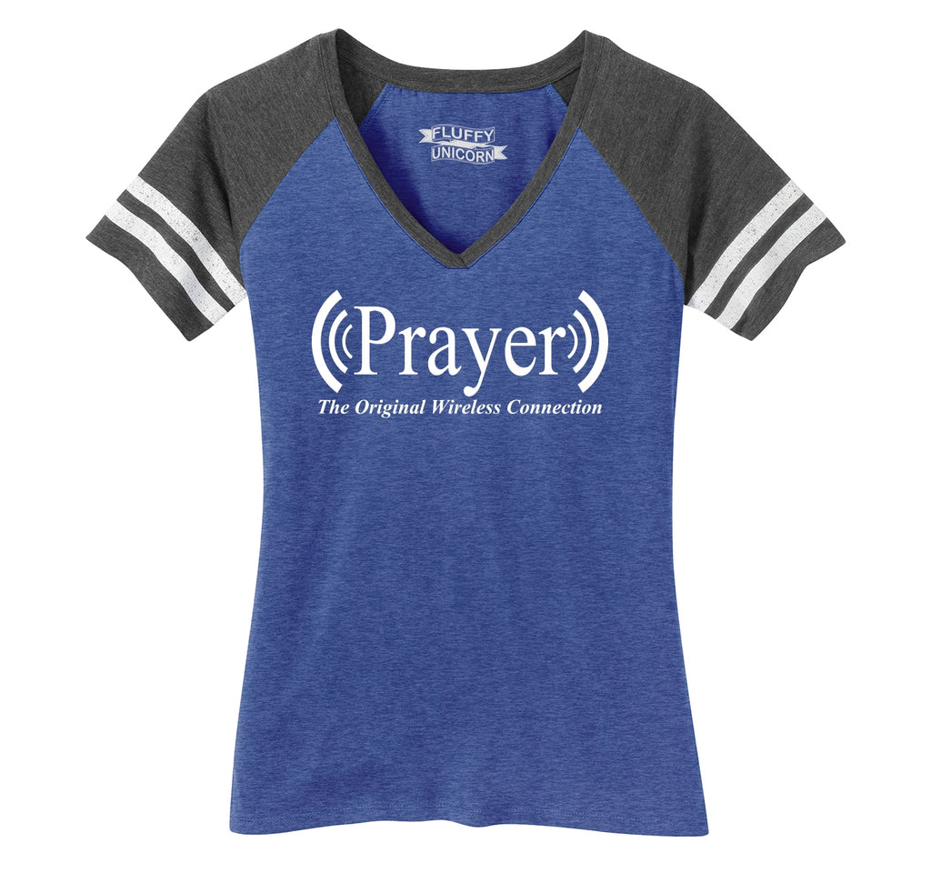 Prayer The Original Wireless Connection Ladies Short Sleeve Game V-Neck Shirt