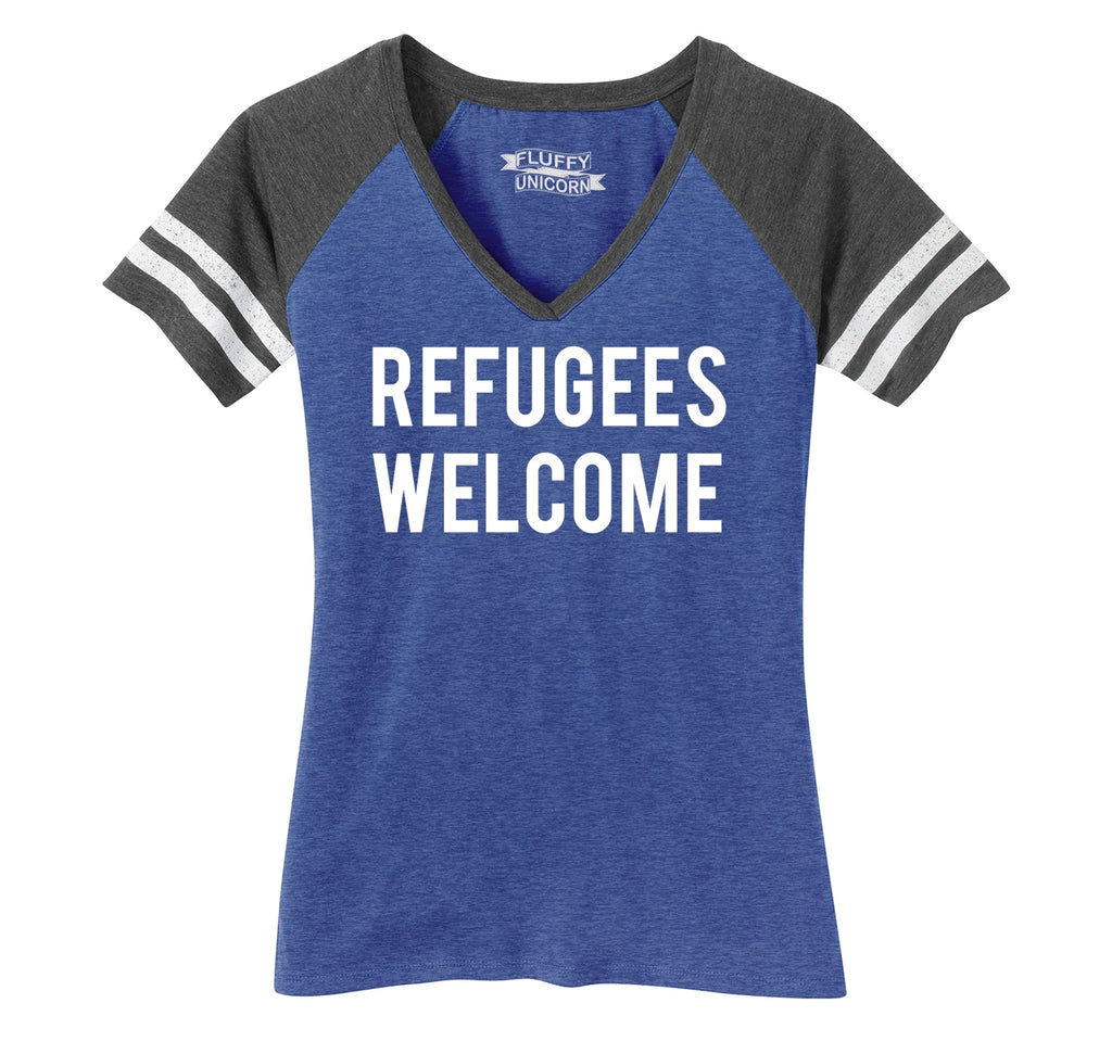 Refugees Welcome Tee Anti Trump Protest Muslim Peace USA Tee Ladies Short Sleeve Game V-Neck Shirt