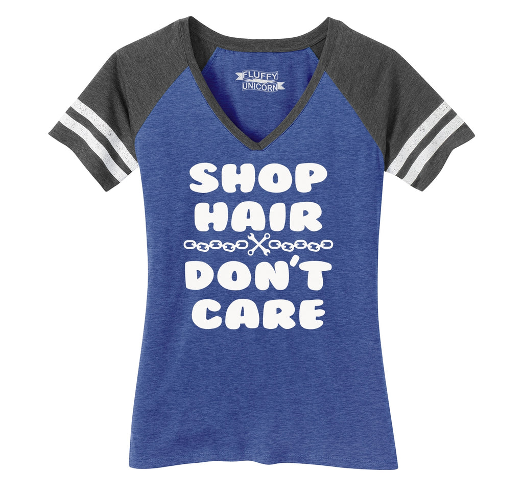 Shop Hair Don't Care Ladies Short Sleeve Game V-Neck Shirt