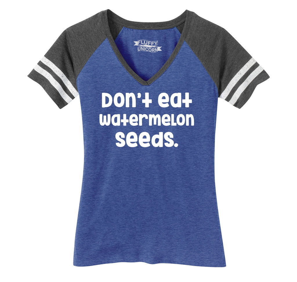 Dont Eat Watermelon Seeds Ladies Short Sleeve Game V-Neck Shirt