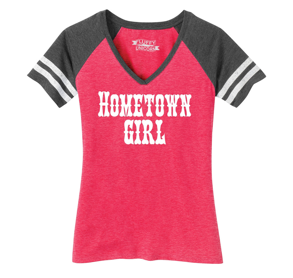 Hometown Girl Ladies Short Sleeve Game V-Neck Shirt