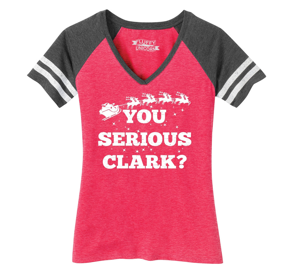 You Serious Clark? Ladies Short Sleeve Game V-Neck Shirt