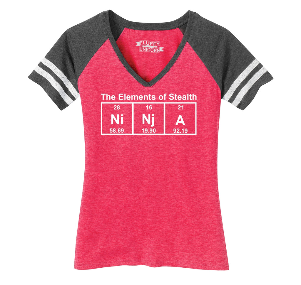 Ninja The Elements Of Stealth Ladies Short Sleeve Game V-Neck Shirt