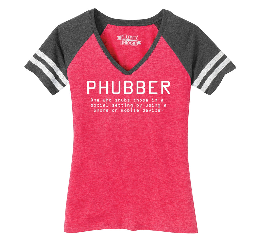 Phubber Snubs in Social Setting on Phone Funny Tee Technology Humor Shirt Ladies Short Sleeve Game V-Neck Shirt