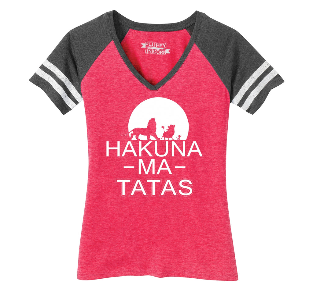Hakuna Ma Tatas Ladies Short Sleeve Game V-Neck Shirt