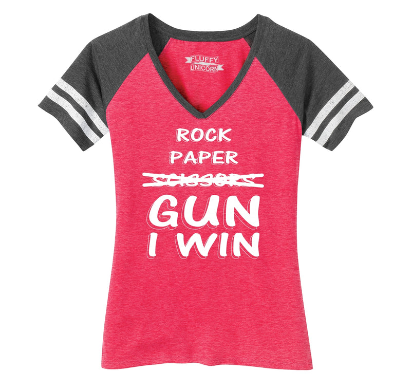 Rock Paper Scissors GUN I win  Ladies Short Sleeve Game V-Neck Shirt