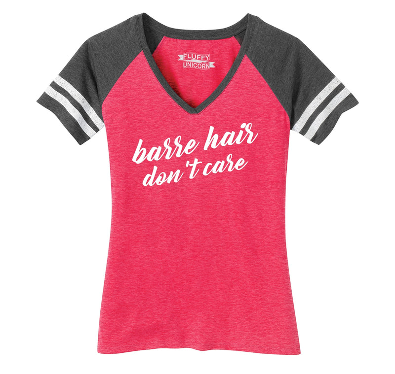 Barre Hair Don't Care Ladies Short Sleeve Game V-Neck Shirt
