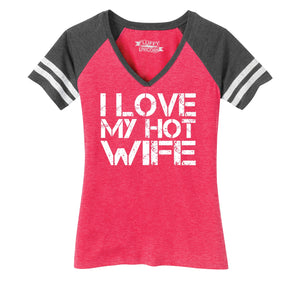 I Love My Hot Wife Ladies Short Sleeve Game V-Neck Shirt
