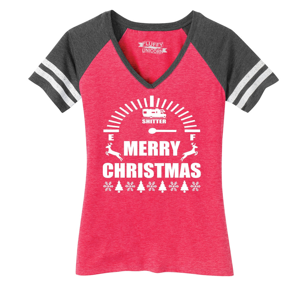Merry Christmas Shitters Full Ladies Short Sleeve Game V-Neck Shirt