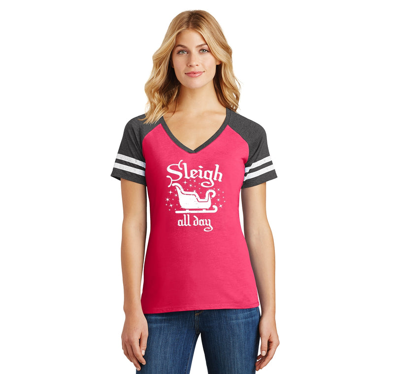 Sleigh All Day Ladies Short Sleeve Game V-Neck Shirt