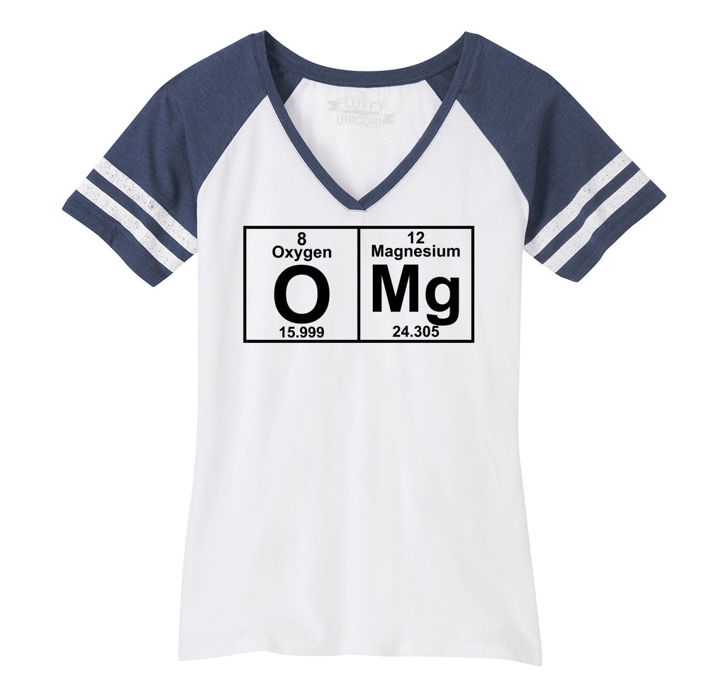 OMG Periodic Table Of Elements Ladies Short Sleeve Game V-Neck Shirt