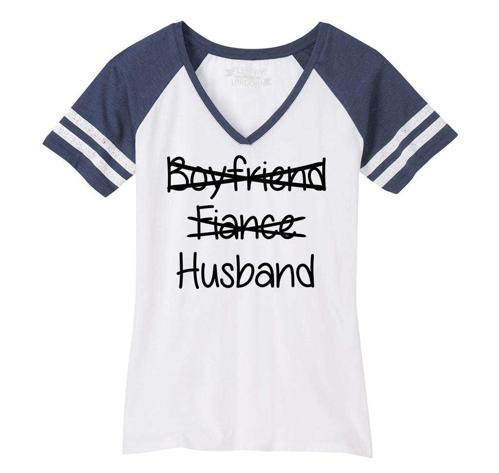 Boyfriend Fiance Crossed Out HUSBAND Ladies Short Sleeve Game V-Neck Shirt