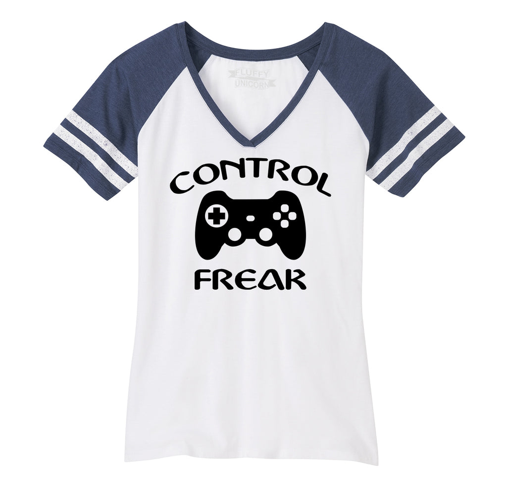 Control Freak Funny Gamer Tee Video Games Valentines Day Gift Tee Ladies Short Sleeve Game V-Neck Shirt