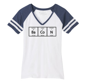 Bacon Periodic Table Ladies Short Sleeve Game V-Neck Shirt