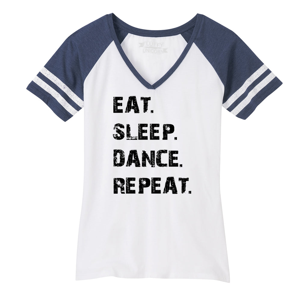 Eat Sleep Dance Repeat Ladies Short Sleeve Game V-Neck Shirt