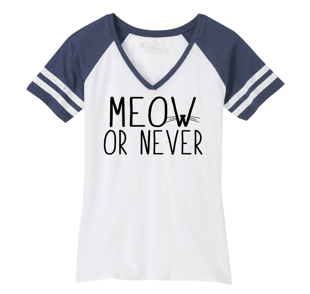 Meow Or Never Ladies Short Sleeve Game V-Neck Shirt