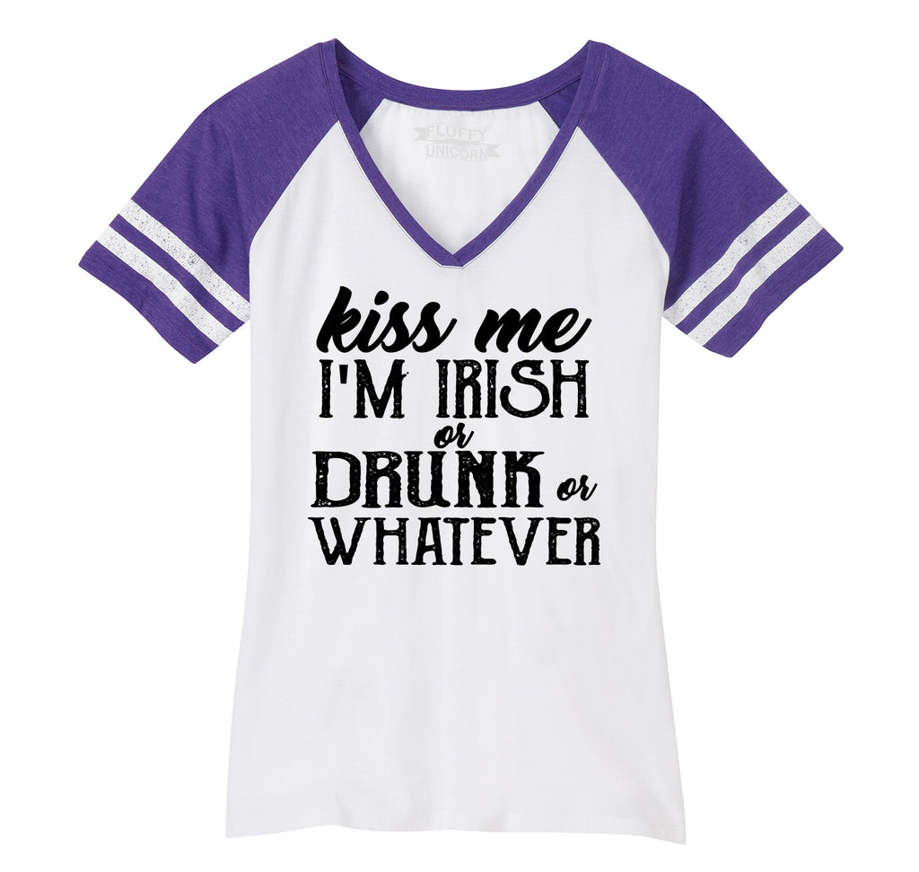 Kiss Me I'm Irish Or Drunk Or Whatever Ladies Short Sleeve Game V-Neck Shirt