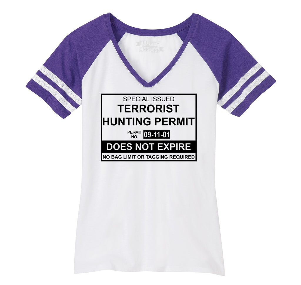Terrorist Hunting Permit No Bagging Or Limit Funny Anti Islam Shirt Ladies Short Sleeve Game V-Neck Shirt
