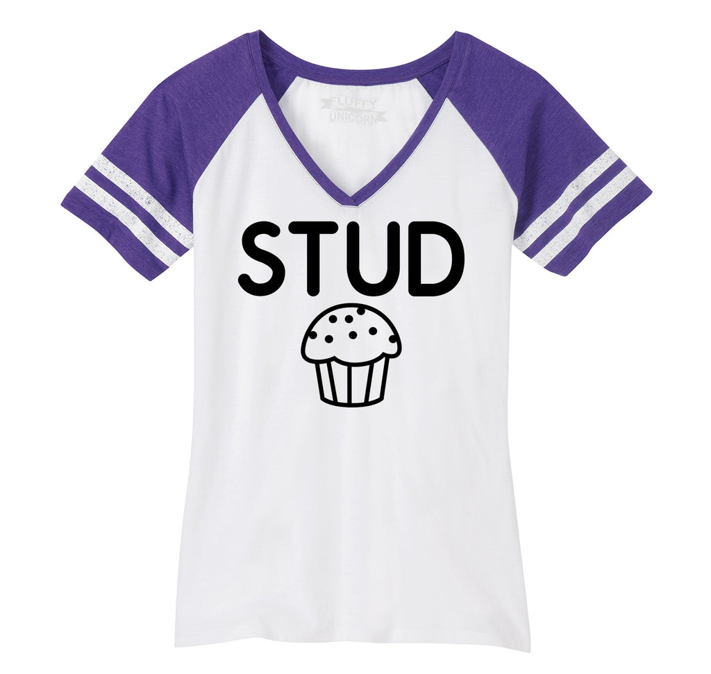 Stud Muffin Funny Tee Cute Boyfriend Gift Tee Ladies Short Sleeve Game V-Neck Shirt