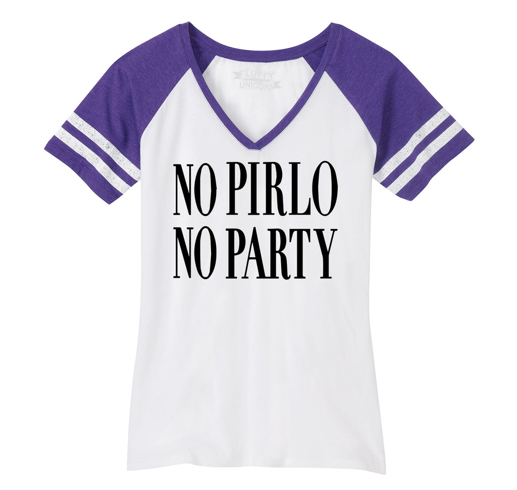 No Pirlo No Party Ladies Short Sleeve Game V-Neck Shirt