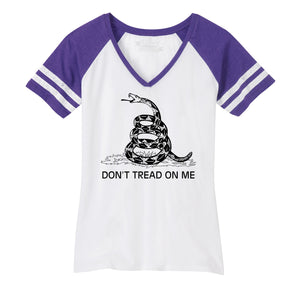 Gadsden Flag Don't Tread On Me Ladies Short Sleeve Game V-Neck Shirt
