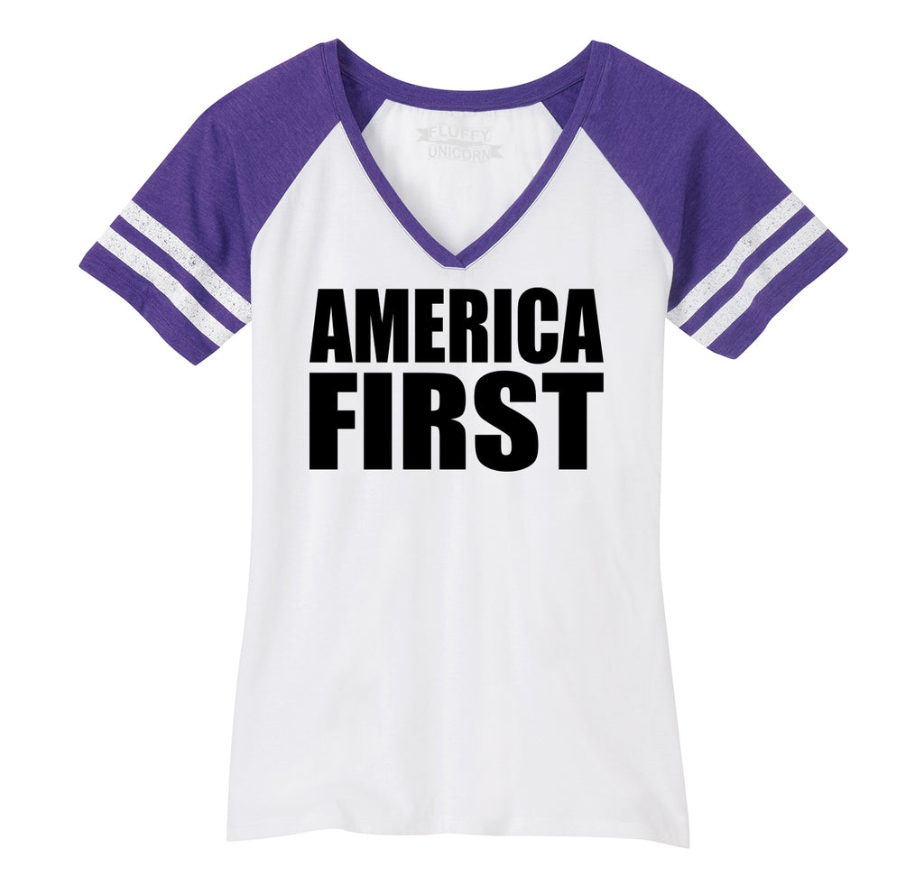 America First Tee President Donald Trump Political USA Patriotic Tee Ladies Short Sleeve Game V-Neck Shirt