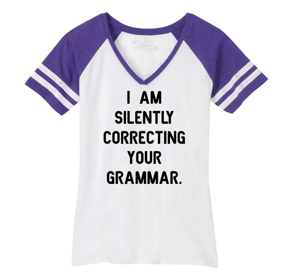 I Am Silently Correcting Your Grammar Funny College Teacher Tee Ladies Short Sleeve Game V-Neck Shirt
