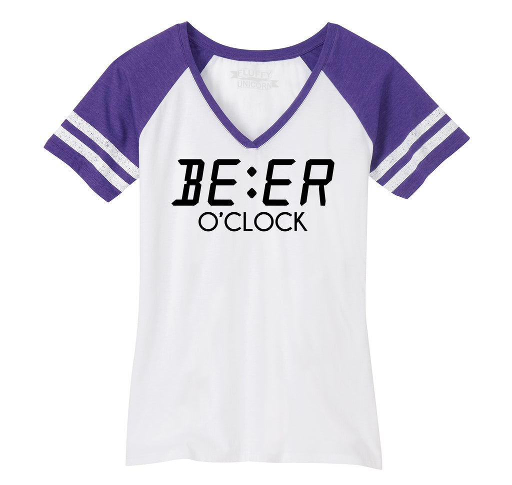 Beer O'Clock Funny Alcohol St Patty's Party Bar Tee Ladies Short Sleeve Game V-Neck Shirt